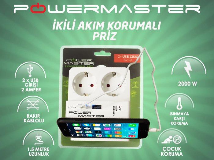 Powermaster 2 Usb Girişli 2li Akım Korumalı Priz tanıtım