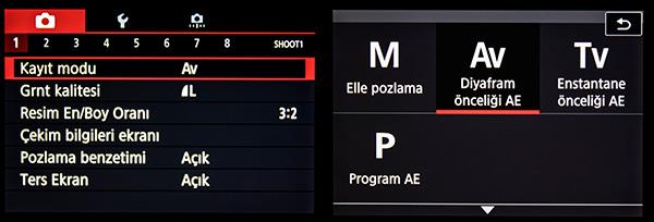 EOS M100 Menu