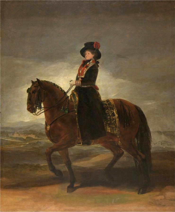 La reina María Luisa a caballo 1799. Óleo sobre lienzo, 338 x 282 cm. https://www.museodelprado.es/coleccion/obra-de-arte/la-reina-maria-luisa-a-caballo/9bd956e0-d660-4a70-bf36-bf5ad69df7cf?searchMeta=reina%20maria