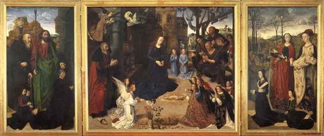 https://www.uffizi.it/en/artworks/adoration-of-the-shepherds-with-angels-and-saint-thomas-saint-anthony-saint-margaret-mary-magdalen-and-the-portinari-family-recto-annunciation-verso#&gid=1&pid=1