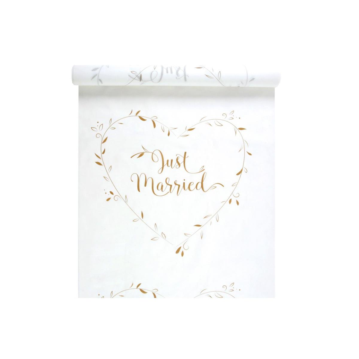 tapis eglise just married blanc et or mariage 10 metres