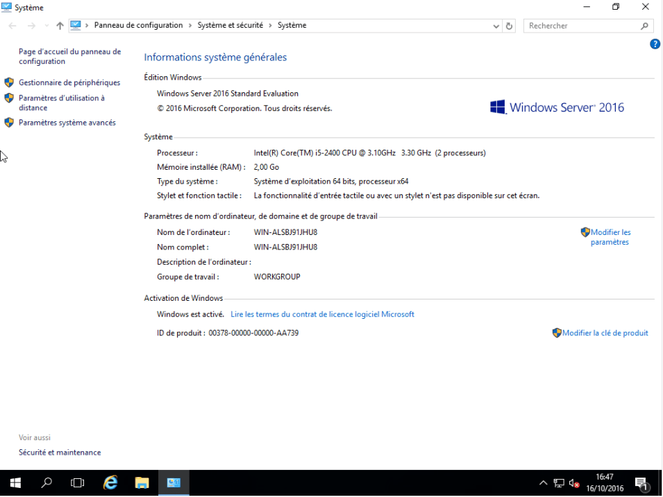 Machine virtuelle - Microsoft Windows serveur 2016 Standard