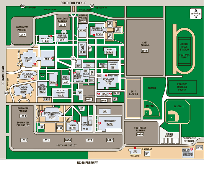 Southern and Dobson Campus Map  Locations  Mesa