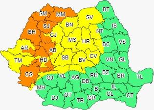 Vremea în Sibiu: Cod galben de ploi abundente până vineri