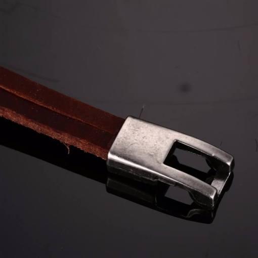 bracelet ancre cuir marron bout