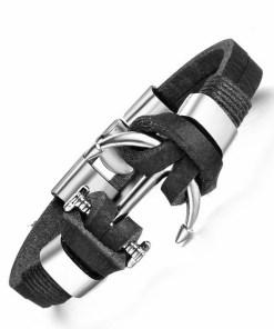 Bracelet Ancre en Cuir Marron noir