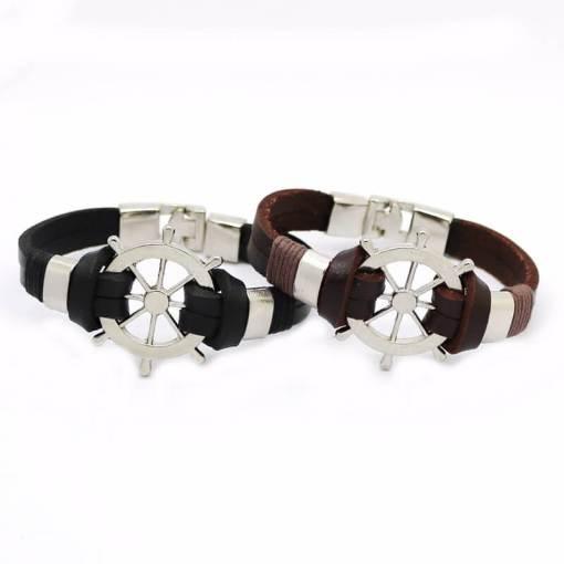 Bracelet en cuir Gouvernail Vintage en cuir noir et marron