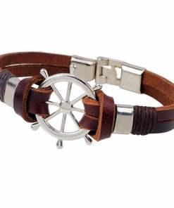 Bracelet en cuir Gouvernail Vintage en cuir marron vue de face