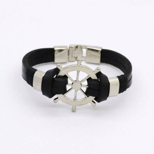 Bracelet en cuir Gouvernail Vintage en cuir noir vue de face