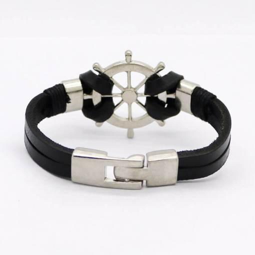 bracelet en cuir noir gouvernail vue de dos