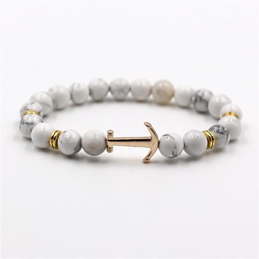 Bracelet d'Ancre doré en pierre naturelle blanc