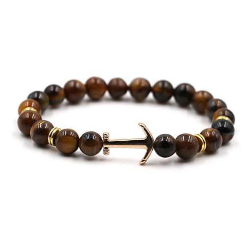 Bracelet d'Ancre doré en pierre naturelle oeil de tigre