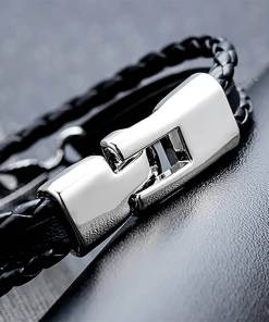 Bracelet de marin motif gouvernail en cuir multicouche fermoir