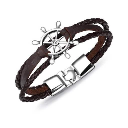 Bracelet de marin motif gouvernail en cuir multicouche marron argent