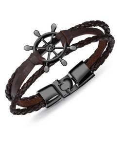 Bracelet de marin motif gouvernail en cuir multicouche marron noir