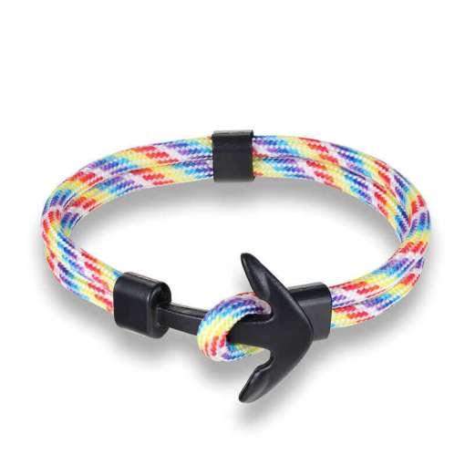 Bracelet en corde tissée motif Ancre marine arc en ciel