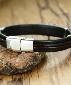 Bracelet gouvernail nautique en cuir noir dos