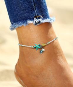 Chaine de cheville Océan étoile de mer porte sur une cheville femme