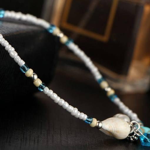 Chaine de cheville Océan étoile de mer vue sur les perles