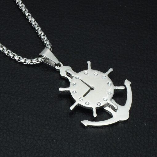 Collier avec pendentif Horloge Gouvernail argent