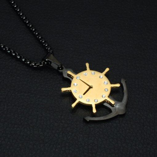 Collier avec pendentif Horloge Gouvernail noir
