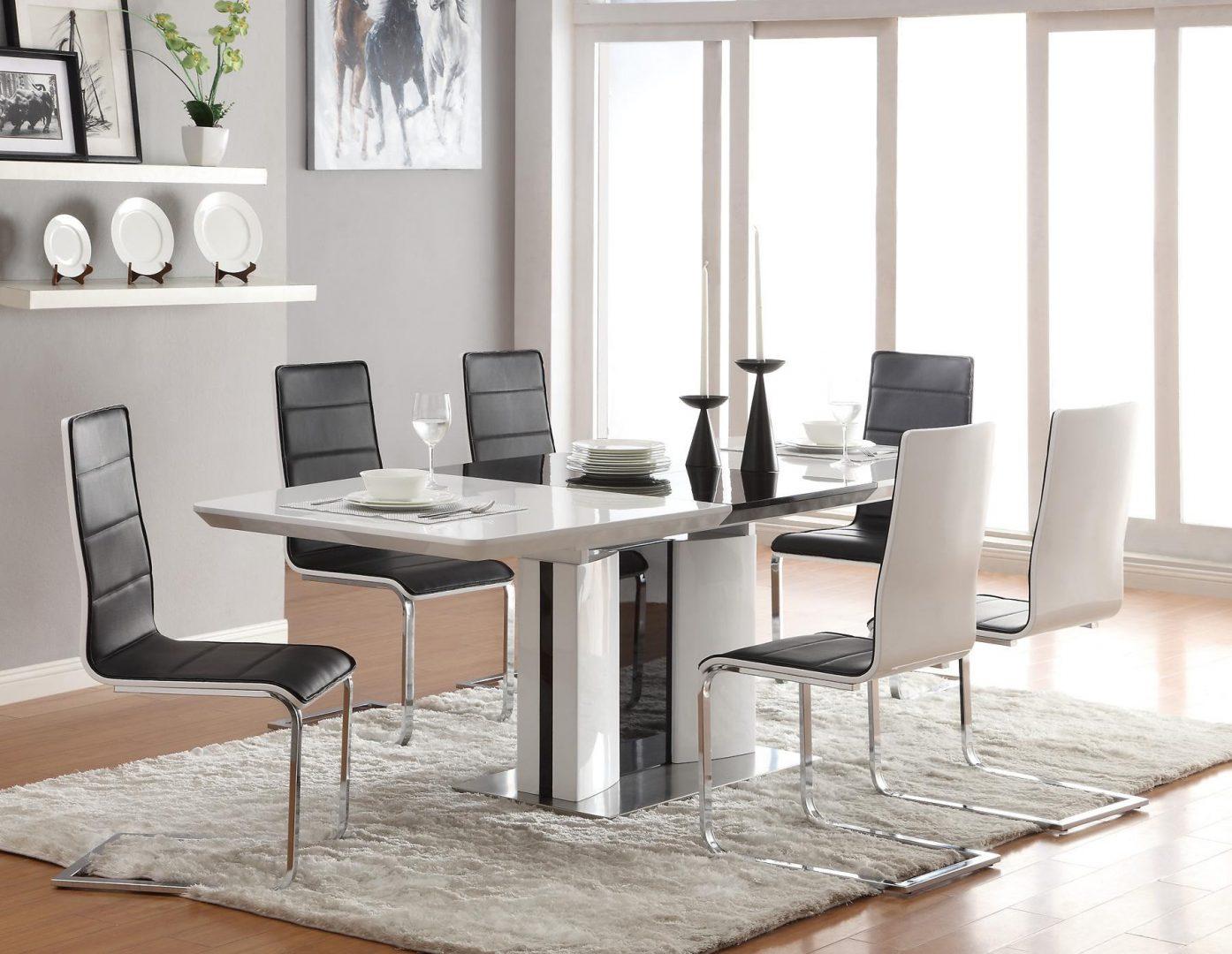 Mesa moderna de comedor en blanco y negro  Imgenes y fotos