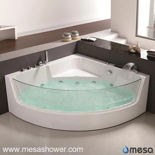 China Corner Luxury Round Sector Whirlpool Jetted Massage Acrylic Fiberglass Glass Corner Large
