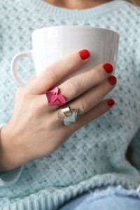 Wrap Around Leather Heart Ring - The Sewing Rabbit