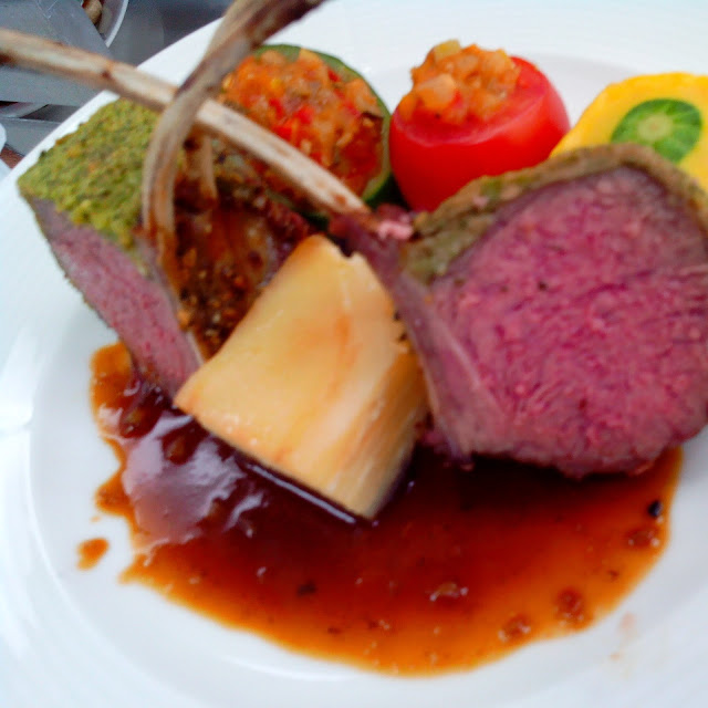 Herb Crusted Lamb with Potato Gratin and Ratatouille