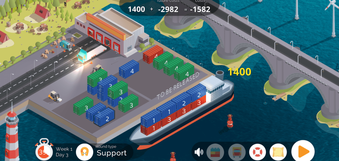 Trucks & Barges: Main Playing Screen