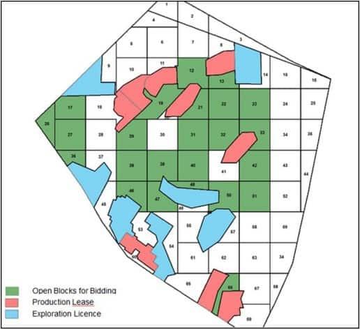 Israeli offshore blocks open for bidding (in green)