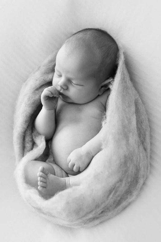 portrait de naissance simple et naturel en noir et blanc