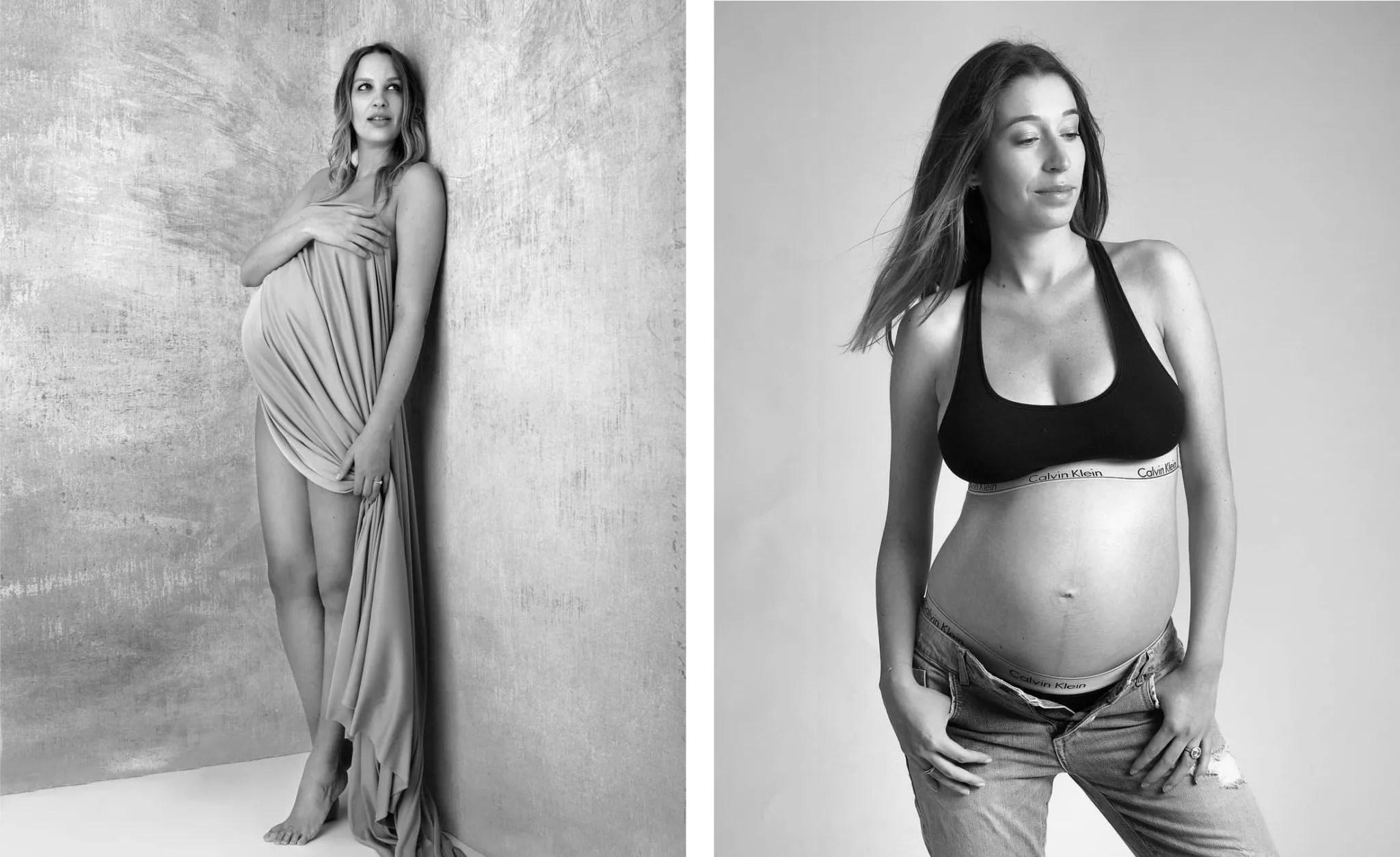 shooting grossesse avec photo en noir et blanc photographe proche paris