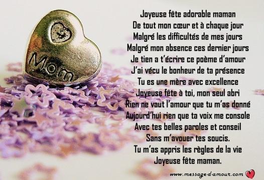 poeme pour la fete des meres