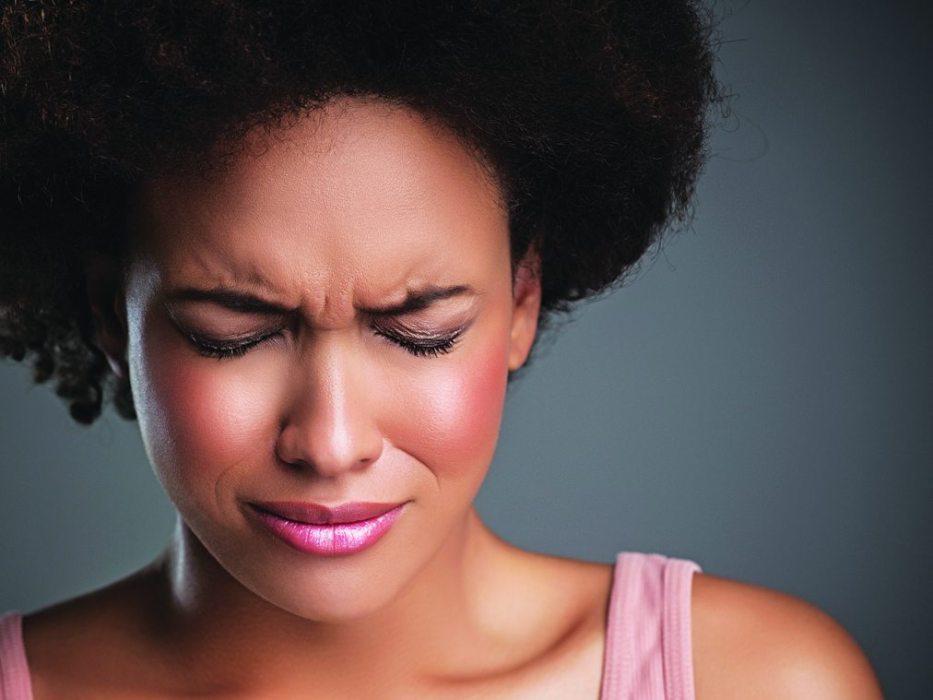 Woman ashamed