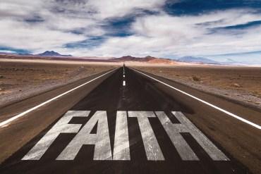 Road with Faith written on it
