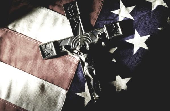 Crucifix on american flag