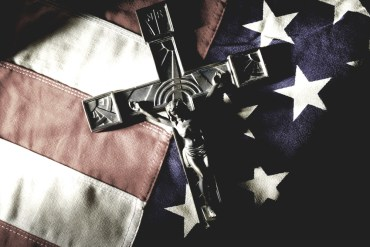 Crucifix on american flag