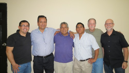 From left to right is our Message Ministries Peru Board of Directors. Hector Del Carpio, Pastors Gilberto, Fabian, Jose, Chuck Moore (VP of MM International) and Brian Weller.