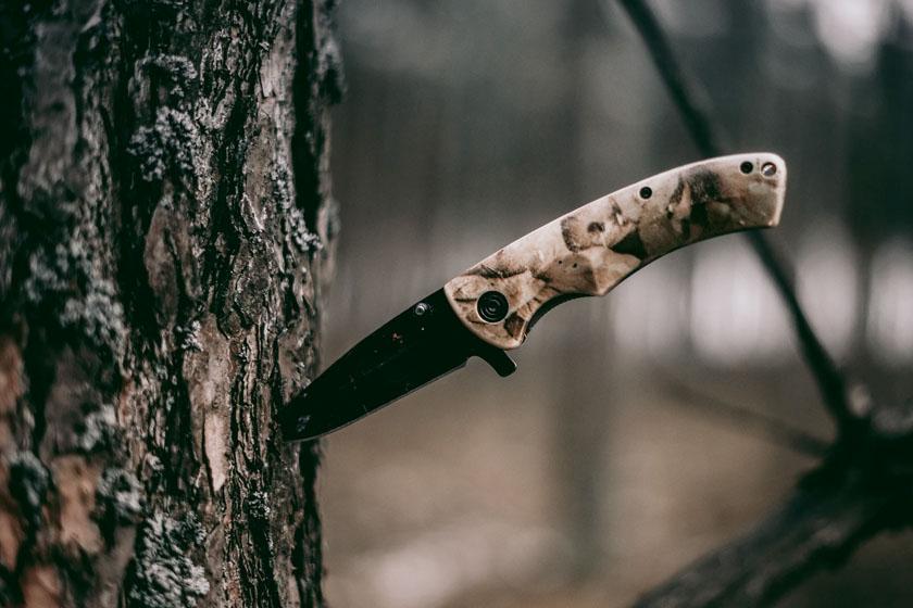 Jagdmesser steckt in Baum