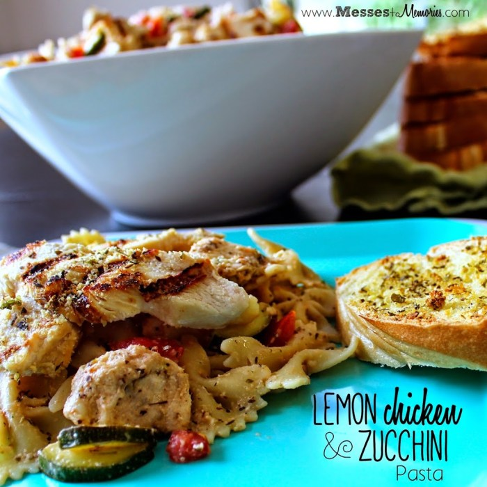 Lemon Chicken and Zucchini Pasta is a great 30 minute dish that the family will love from Messes to Memories