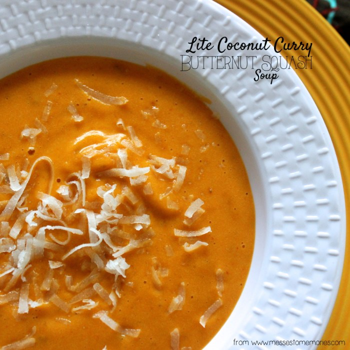 Lite Coconut Curry Butternut Squash Soup from Messes to Memories