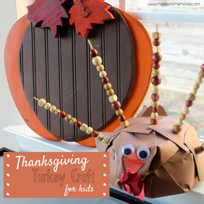 A fun and easy turkey craft for children to practice their fine motor skills, plus it doubles as fun decor from Messes to Memories