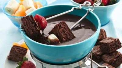 Brownies and Chocolate Raspberry Fondue