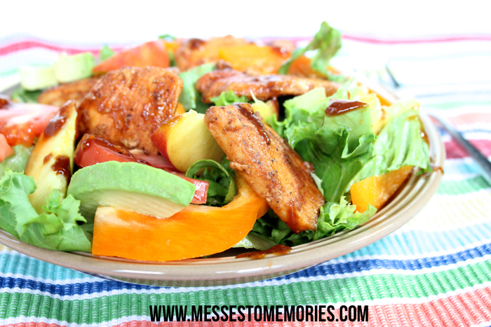 Honey Balsamic Chicken Salad with Peaches from Messes to Memories