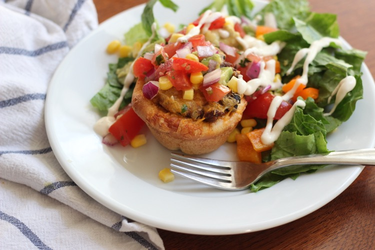 Rhodes Taco Cups - A delicious roll, filled with taco meat and topped with your favorite Taco toppings!
