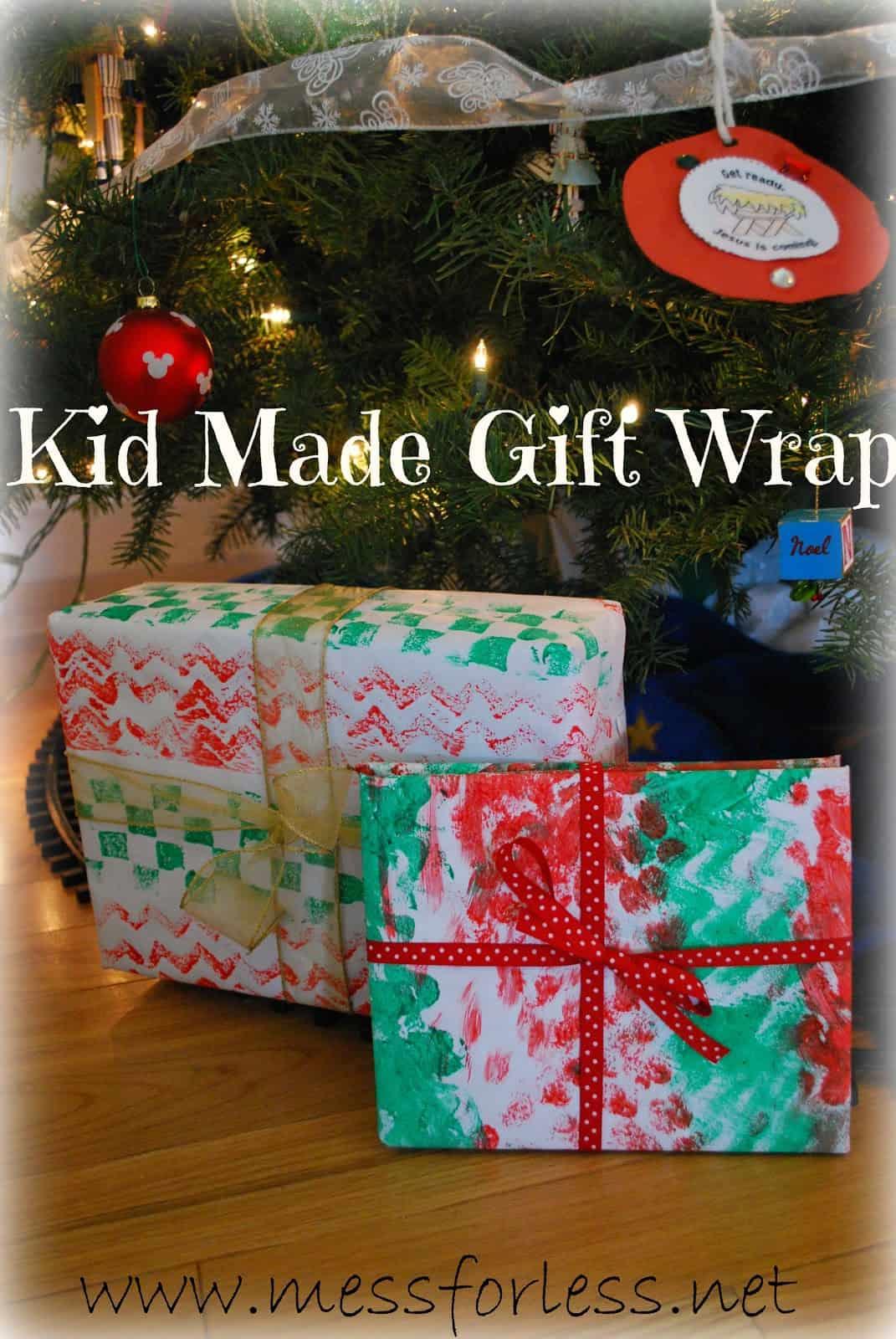 kid made gift wrap