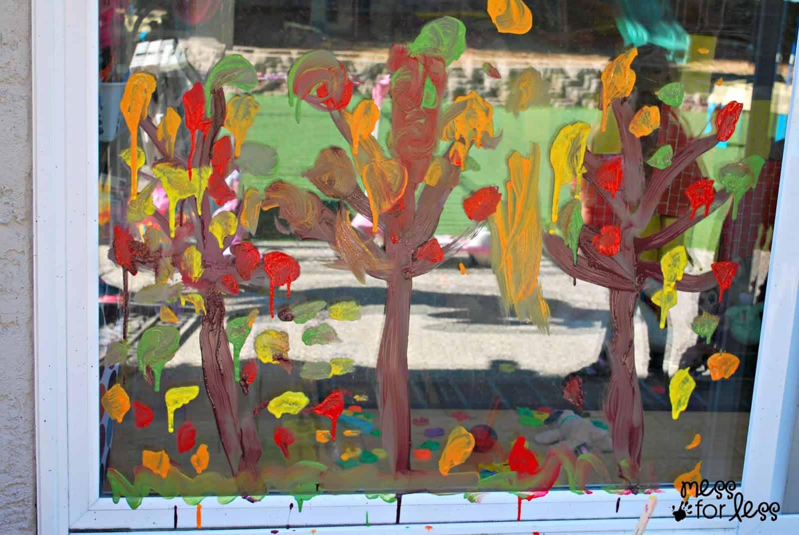 Fall Tree Window Painting