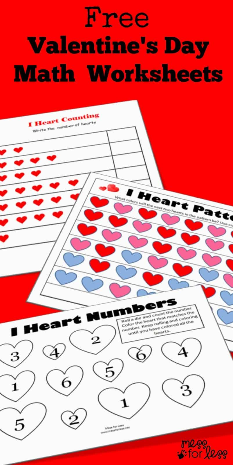 medium resolution of Valentine's Math - Kindergarten Worksheets - Mess for Less