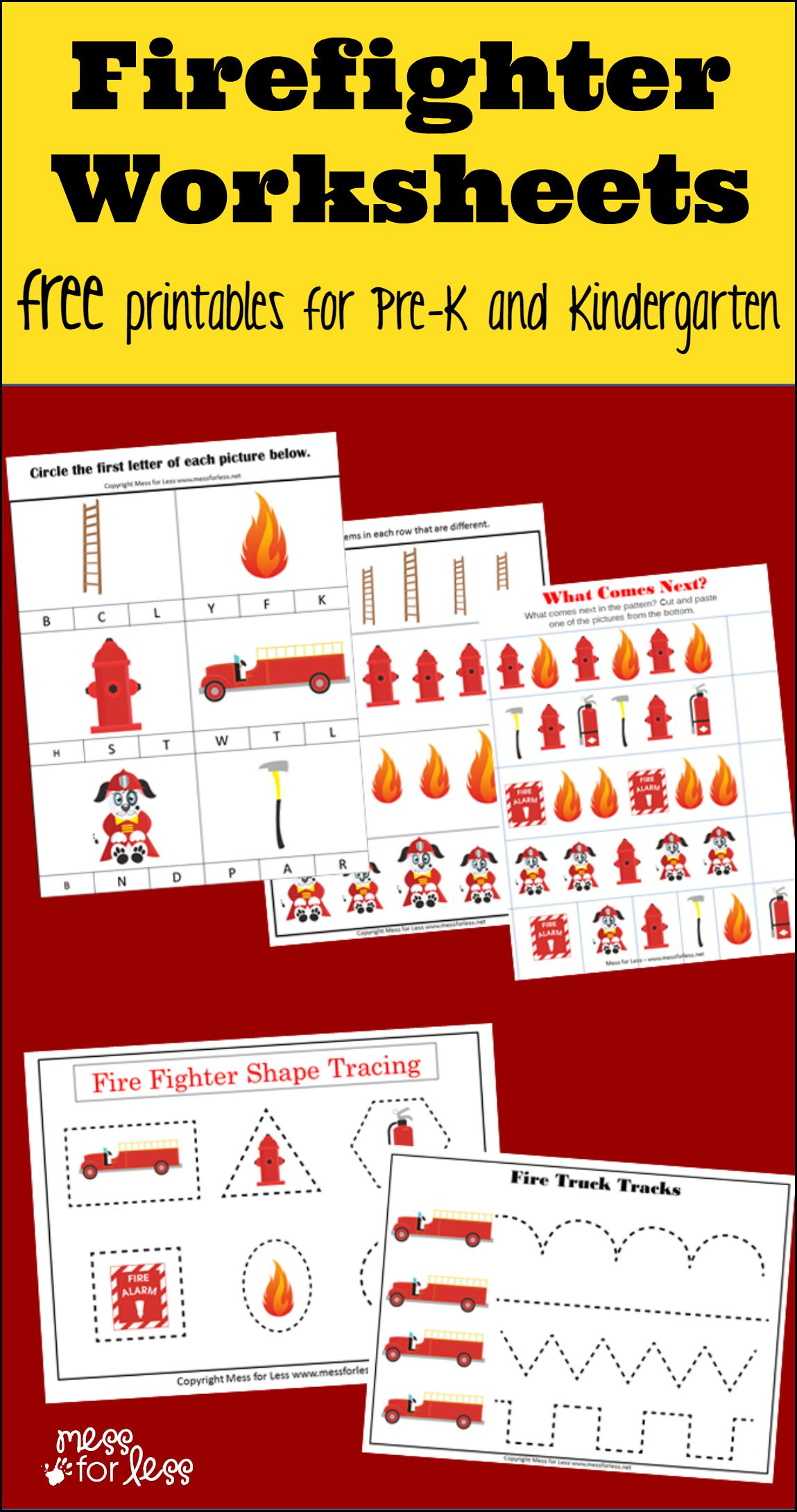 Firefighter Kindergarten Worksheets